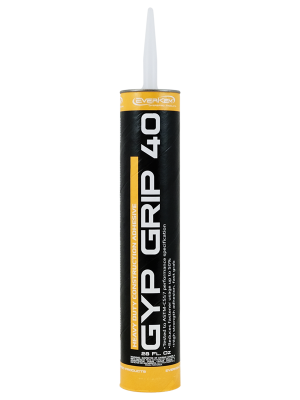 Gyp Grip 40 is a heavy duty drywall adhesive / heavy duty construction adhesive. Meets ASTM-C557 and reduces mechanical fastener usage by up to 50%